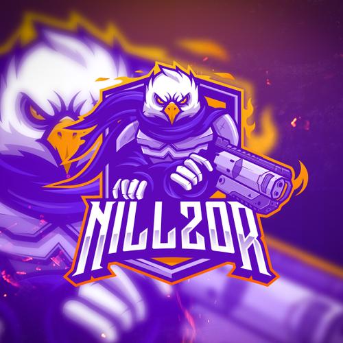YouTube logo with the title 'E-sports player logo design: NILLZOR!'