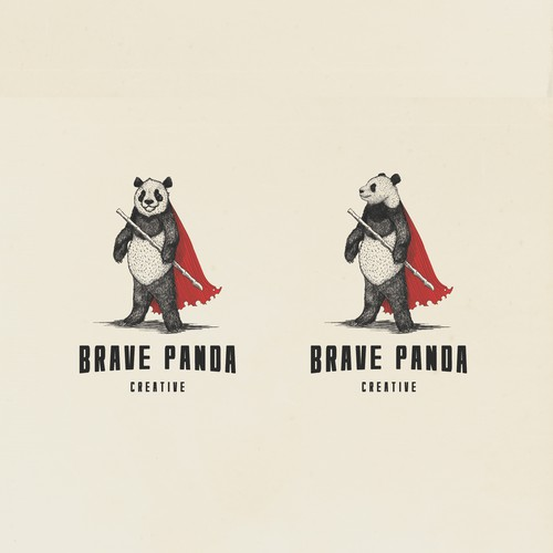 Superhero logo with the title 'Brave Panda logo design'