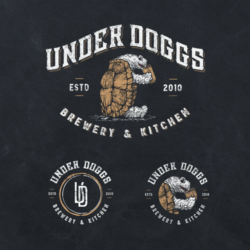 Sketching logo with the title 'UNDERDOGGS Brewpub & Kitchen'