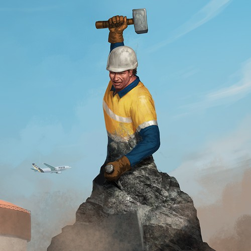 Rock design with the title 'Construction Worker'