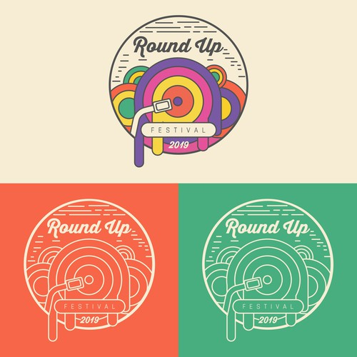 Music festival design with the title 'Round Up Music Festival'