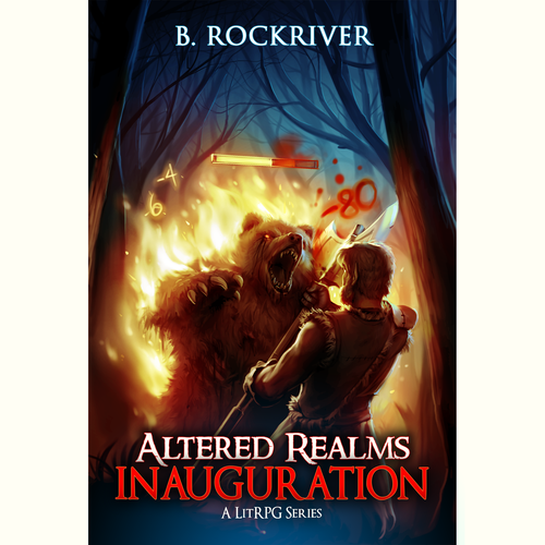 """RPG design with the title '""""Atlered Realms Inauguration"""" book cover entry'"""