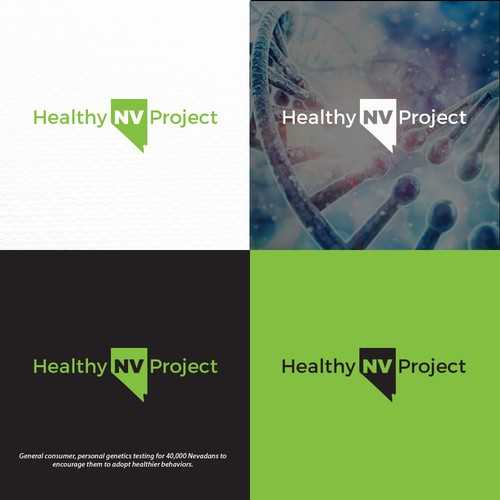 Green and grey logo with the title 'Logo for Healthy NV Project'