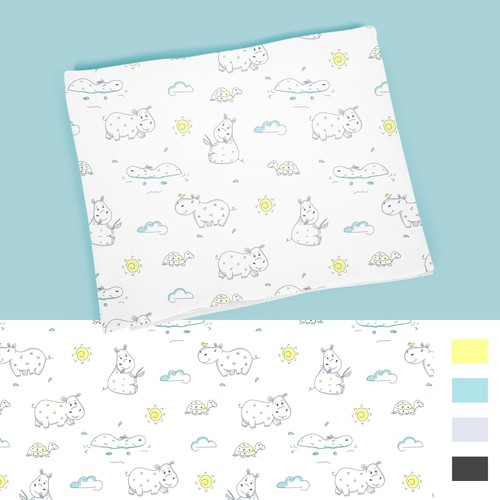 Animal design with the title 'Baby Muslin Swaddle Blankets pattern'