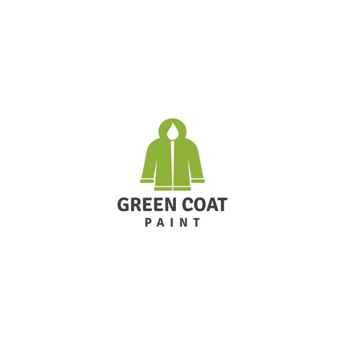 Paintbrush design with the title 'green coat paint'