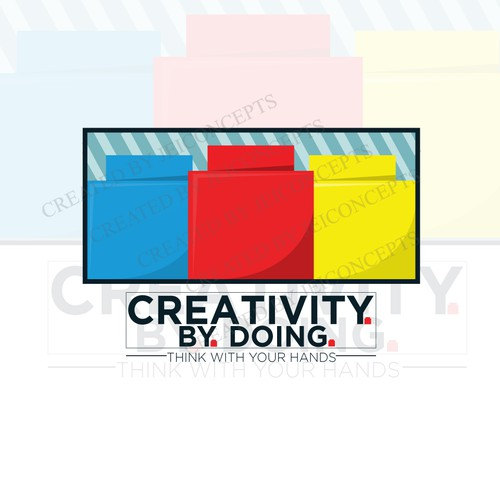 "Lego design with the title '""Creativity By Doing"" Logo Concept'"