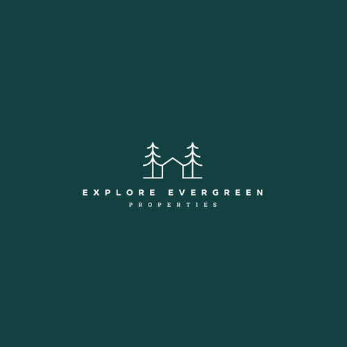 Property management logo with the title 'Explore Evergreen Properties Logo'