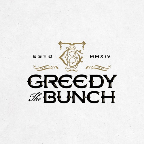 Antique design with the title 'Logo for The Greedy Bunch.'