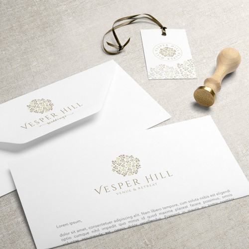 Classic brand with the title 'Brand Identity for Vesper Hill, Venue & Retreat'