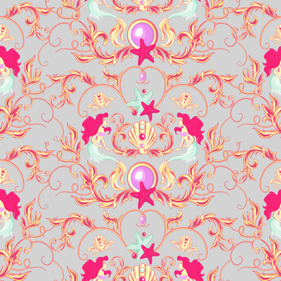 Versace inspired mermaid pattern