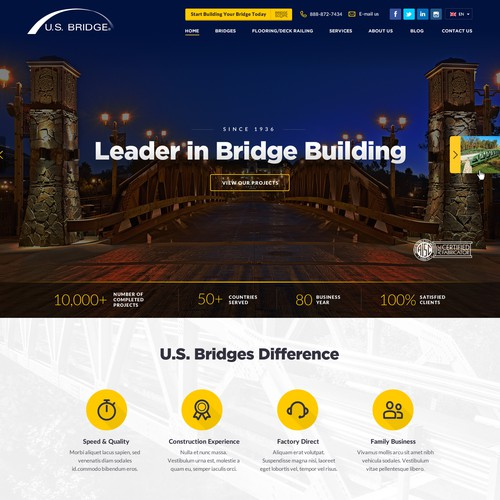 Bridge design with the title 'Modern, Stylish, Flat Web design for Construction Company, leader in Bridge Building'