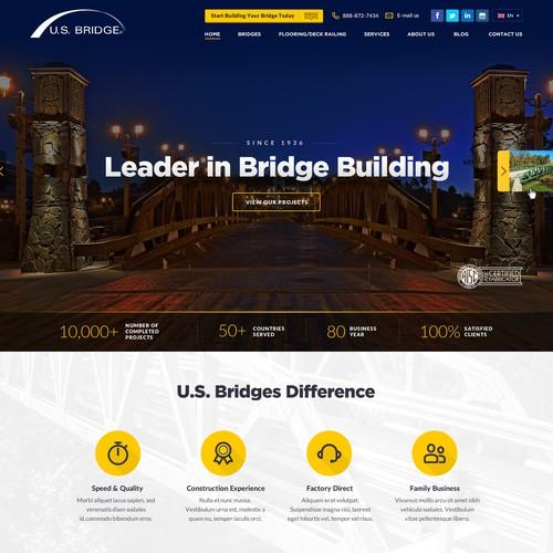Bridge design with the title 'Modern, Stylish, Flat Web design for Construction Company, leader in Bridge Building'