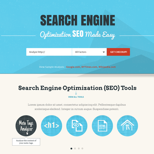 Retro website with the title 'website design for seo site checkup'