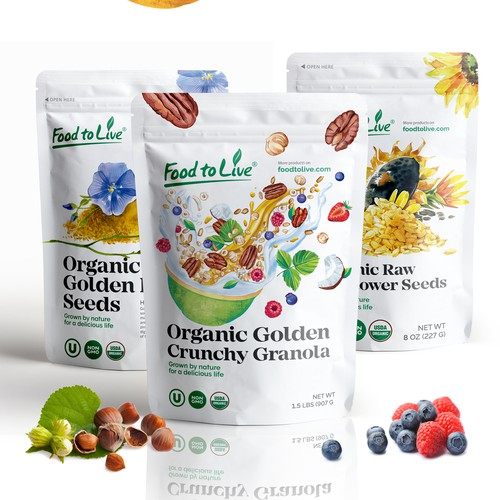 Illustration packaging with the title 'Cruncy granola packaging design'