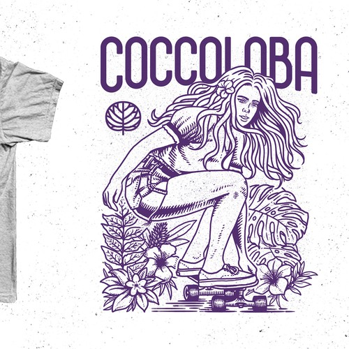 Skateboard t-shirt with the title 't-shirt design entry for coccoloba'