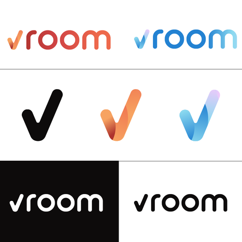 Right design with the title 'vroom'