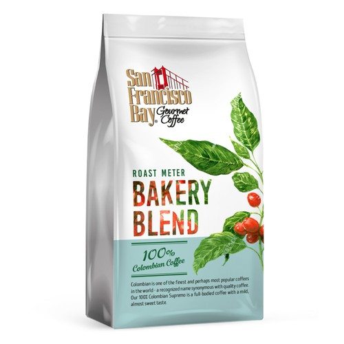 Hand-drawn packaging with the title 'Fresh bakery blend for coffee company'