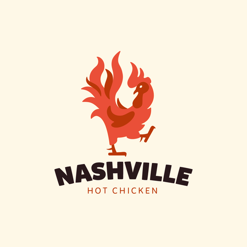 Rooster design with the title 'Fiery rooster logo'