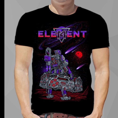 T-shirt with the title 'robot space meet game t shirt '