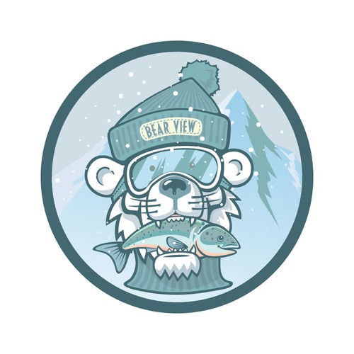 Logo with the title 'Icy polar bear patch'
