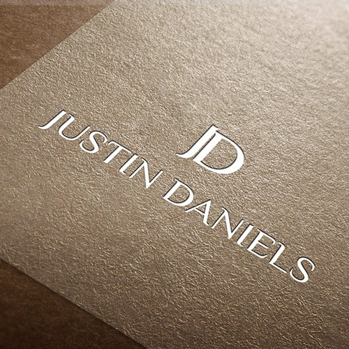 Speaker design with the title 'Justin Daniels - Logo design'