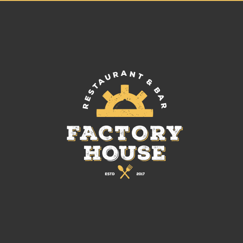 Cafe bar logo with the title 'Factory House'
