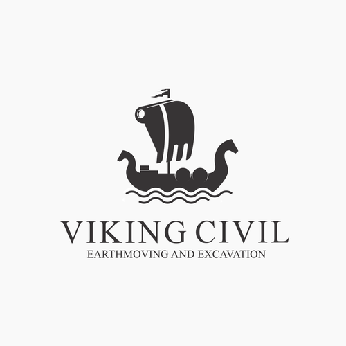 Sailing design with the title 'Dual meaning logo for viking and excavation company'