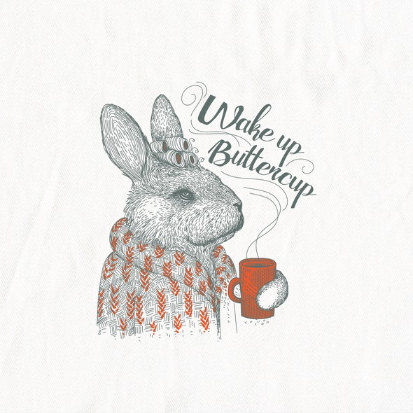 Bunny design with the title 'Buttercup Bunny illustration for In 2 The Nest'