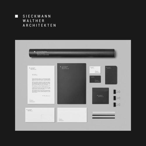 Stationery brand with the title 'Sieckmann Walther Architekten'