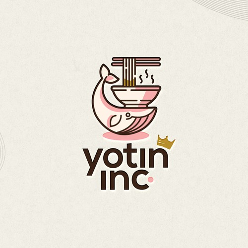 Whale logo with the title 'Ramen Fueled Whale!  - Yotin Inc.'