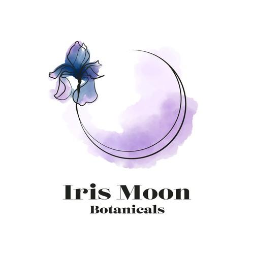 Iris logo with the title 'Watercolor, minimalist, iris logo'