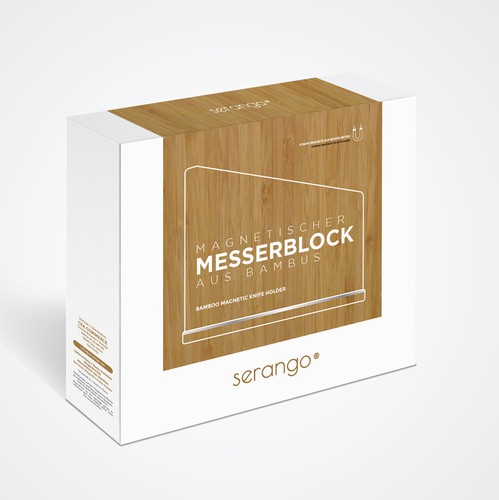 Wood packaging with the title 'Clean Sleek Minimal Wood Texture Box Design for Knife Holder'