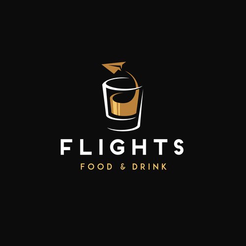 "Airline and flight logo with the title 'Logo design concept for an airport restaurant ""Flights""'"