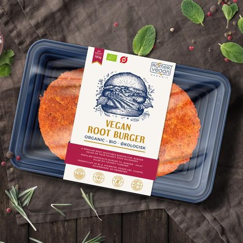 Vegan design with the title 'Label design for Vegan Root Burger'