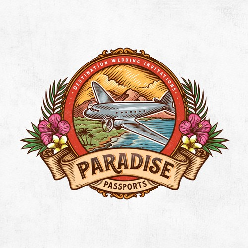 Tropical logo with the title 'Paradise Passports'