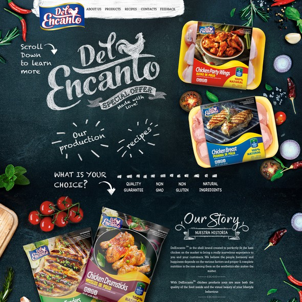 Supermarket design with the title 'Web page design'