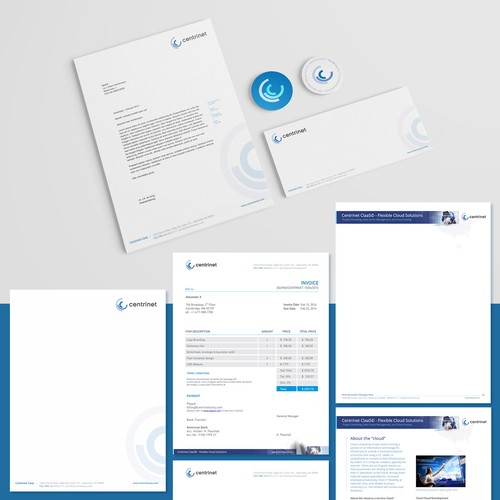 Letterhead design with the title 'Stationary design for Centrinet'