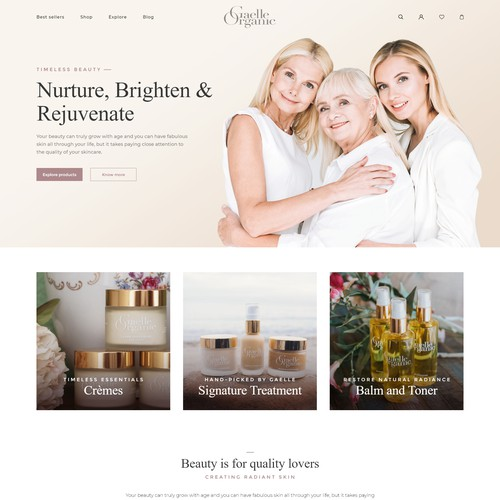 Healthcare design with the title 'Organic skincare brand'