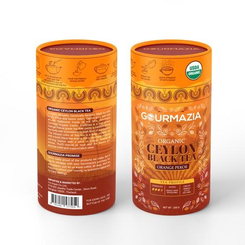 Orange design with the title 'Ceylon Black Tea Canister Design'