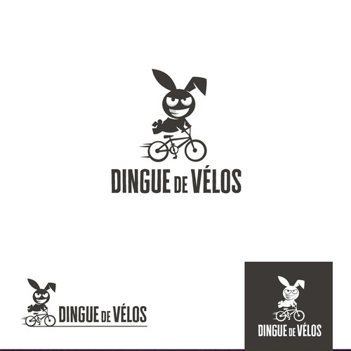Electric bike logo with the title 'dingue de vélos'