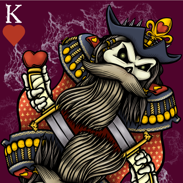 Skull illustration with the title 'Pirate King of Hearts'
