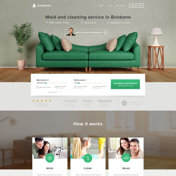 Cleaning website with the title 'Website Design for Cleaning Company'