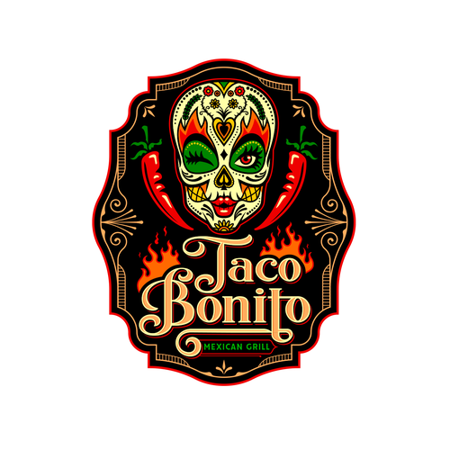 Mexican logo with the title 'Taco Bonito'