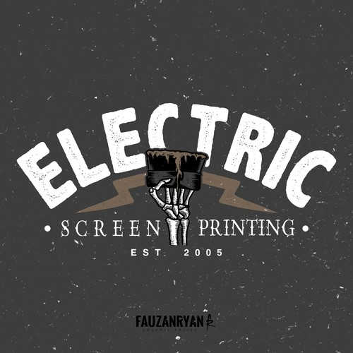 Skeleton logo with the title 'Electric Screen Printing'