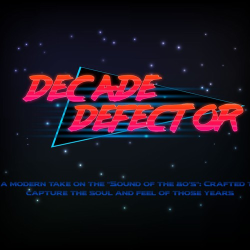 Synthwave design with the title 'Decade Defector 02'