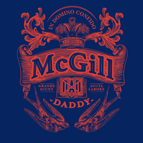 Badge logo with the title 'Coat of arms for McGill University Dad and Mom'