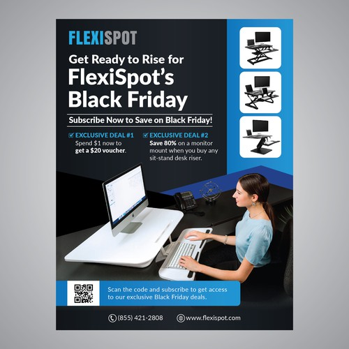 Table design with the title 'FLEXISPOT FLYER'