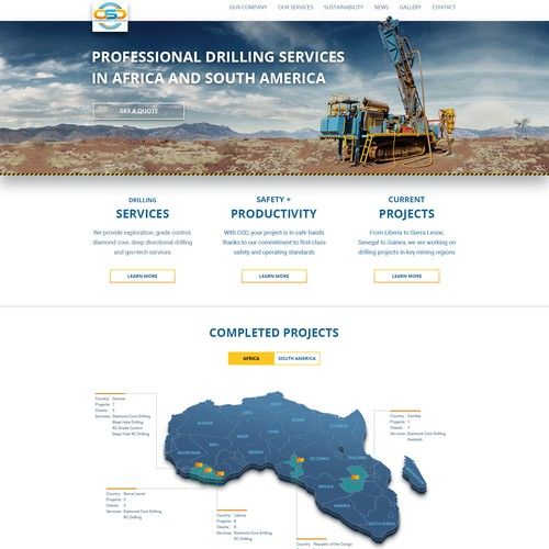 Mining website with the title 'Oresearch Drilling - Website Redesign'