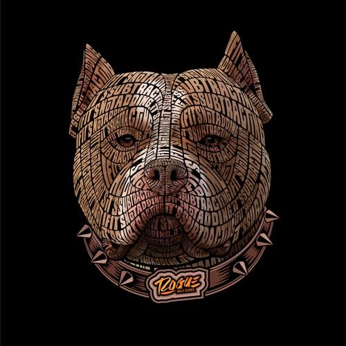 Dog artwork with the title 'Bull Dog Typography'