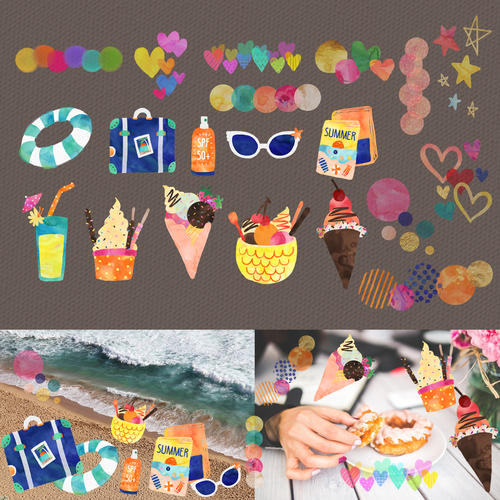 Sticker artwork with the title 'Photo collage app stickers/stamps'